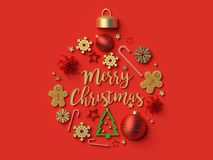 Merry Christmas Christmas ball background. 3d rendered illustration Royalty Free Stock Image