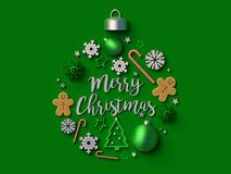 Merry Christmas Christmas ball background. 3d rendered illustration Royalty Free Stock Photography
