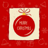 Merry christmas in christmas ball in red frame, greeting card Royalty Free Stock Images