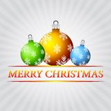 Merry christmas and christmas balls with snowflakes over silver Royalty Free Stock Photography