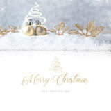 Merry Christmas.Christmas decoration. With Gold ball on snow Royalty Free Stock Images