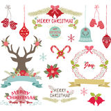 Merry Christmas,Christmas Flowers,Deer,Rustic Christmas,Wreath,Christmas decoration set. The vector for Merry Christmas,Christmas Flowers,Deer,Rustic Christmas Royalty Free Stock Photos