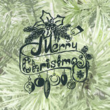Merry Christmas. Christmas frame on spruce Stock Photography