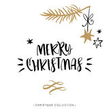 Merry Christmas! Christmas greeting card with calligraphy. Stock Photos