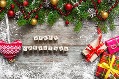 Merry Christmas. Christmas greeting card with fir tree Stock Photography
