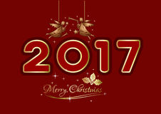Merry Christmas 2017. Christmas greeting card. Christmas logo design with Christmas angels and gold lettering on a red background. Vector illustration stock illustration
