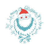 Merry Christmas. Christmas greeting card with Santa Claus. Christmas  greeting card or invitation. Festive  illustration Royalty Free Stock Images