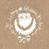Merry Christmas. Christmas greeting card with Santa Claus on kraft paper. Christmas  greeting card or invitation. Festive  illustration on kraft paper Stock Images