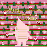 Merry Christmas, Christmas Greeting Card, Santa Claus snowman and, christmas tree Royalty Free Stock Images
