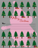 Merry Christmas, Christmas Greeting Card, Santa Claus snowman and, christmas tree Stock Photography