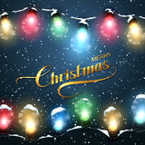 Merry Christmas. Christmas Lights With Snow. Royalty Free Stock Images