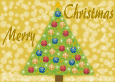 Merry Christmas with christmas tree and balls Royalty Free Stock Images