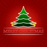 Merry christmas with christmas tree and golden gift boxes over r Stock Photos