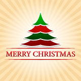 Merry christmas with christmas tree over beige rays Stock Photography