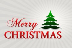 Merry christmas with christmas tree over silver rays, horizontal Royalty Free Stock Photos