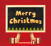 Merry christmas and christmas tree and present box 3d rendering Stock Image