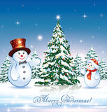 Merry Christmas with a Christmas tree. And snowman Royalty Free Stock Photo
