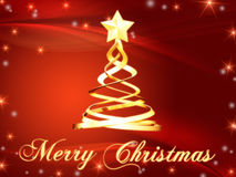 Merry Christmas and christmas tree with stars Stock Photography