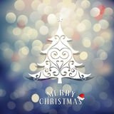 Merry Christmas with Christmas tree and vintage bokeh background, vector & illustration Stock Photo