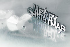 Merry Christmas in Chrome Letters Stock Image