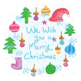 Merry Christmas circle card Royalty Free Stock Images