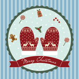 Merry Christmas Circle Gloves Royalty Free Stock Photography