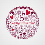 Merry Christmas circle shape full of elements comp Stock Image
