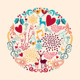 Merry Christmas circle shape full of love composit. Colorful Merry Christmas circle shape with reindeers and love elements composition. EPS10 vector file Royalty Free Stock Photography