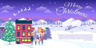 Merry Christmas on City and Blue Sky Background. Happy family is outside near decorated Christmas tree. Merry Christmas on city and blue sky background. Vector stock illustration