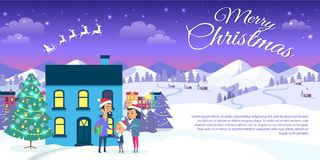 Merry Christmas on City and Blue Sky Background. Merry Christmas web banner of city and blue sky background. Vector illustration of happy family oute cottage Stock Photo