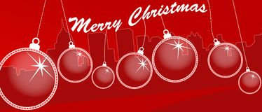 Merry christmas city skyline e-card. A illustration of a city skyline with Christmas ornaments Royalty Free Stock Photo