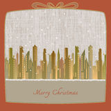 Merry Christmas, Cityscape made of paper in winter background Royalty Free Stock Photo
