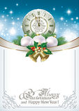 Merry Christmas with a clock and balls Royalty Free Stock Photo
