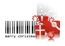 Merry Christmas code bar. Bar code with congratulations and red gifts vector draw on white background. Happy holydays royalty free illustration
