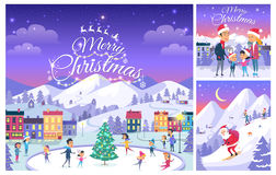 Merry Christmas. Collage of People on Holiday Royalty Free Stock Image