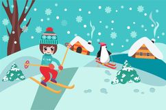 Merry Christmas collection background with cute chibi girl skiing and penguin.. Christmas pattern happy holidays winter landscape with cute chibi girl skiing vector illustration