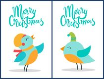 Merry Christmas Birds Titles Vector Illustration. Merry Christmas, collection of birds wearing hats of different colors and scarf, closed their eyes and titles Royalty Free Stock Images