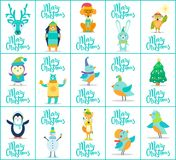 Merry Christmas Collection Vector Illustration. Merry Christmas, collection of cards and labels, images with deer and hedgehog, rabbit and owl, tree and snowman Stock Images