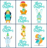 Merry Christmas Collection Vector Illustration. Merry Christmas, collection of similar placards with headlines and images of hedgehog and dog, rabbit and snowman Stock Photos