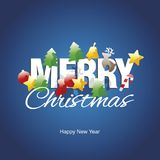 Merry Christmas color elements New Year logo blue vector. Tree bell ball candy deer star stocking stock illustration