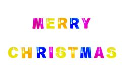 Merry christmas color text with lights isolated on white background Stock Photo