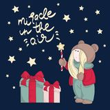 Merry Christmas Color Vector Illustration Set MIRACLE. For Scrapbooking and Digital Print on Card and Photo Children's Albums vector illustration