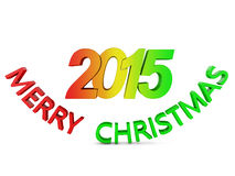 Merry Christmas. Colored volumetric inscription: Merry Christmas 2015 on a white background stock illustration
