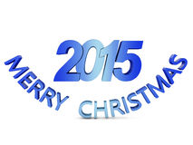 Merry Christmas. Colored volumetric inscription: Merry Christmas 2015 on a white background Stock Image