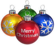 Merry Christmas colorful baubles (Hi-Res) Stock Photo