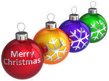 Merry Christmas Colorful Baubles (Hi-Res) Royalty Free Stock Photography