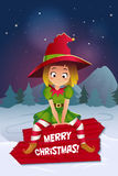 Merry christmas colorful card design, vector illustration. Merry christmas colorful card design, Santa Claus elf helper. Happy New Year Greeting Background Royalty Free Stock Image
