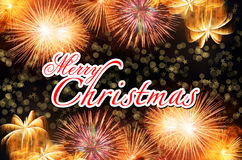 Merry Christmas with Colorful fireworks Royalty Free Stock Photo