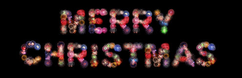 Merry christmas colorful fireworks. Isolated on black background Royalty Free Stock Photos