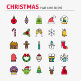 Merry Christmas Colorful Flat Line Icons Set Royalty Free Stock Photo